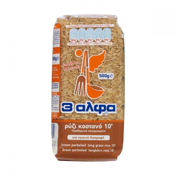 3Α Καστανό Ρύζι Parboiled 10 Λεπτά 500g