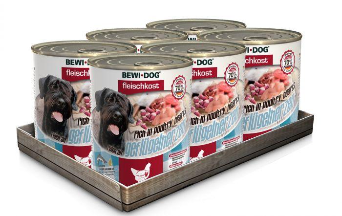 Bewi Dog Σετ 6 Κονσέρβες Καρδιές Πουλερικών 6x800gr