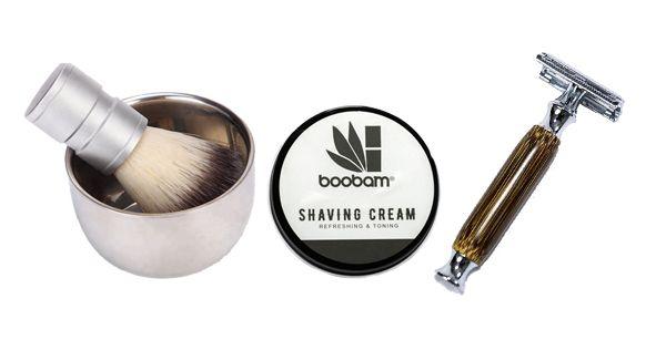 Boobam Σετ Ξυριστικά Μπολ & Βούρτσα, Razor C και Κρέμα Ξυρίσματος 100ml