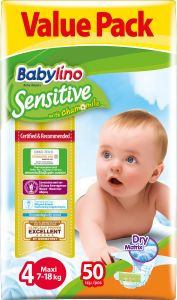 Value Pack Babylino Sensitive Πάνες Νο4 (7-18Kg) 50 τεμάχια