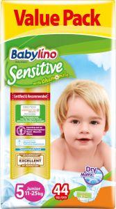 Value Pack Babylino Sensitive Πάνες Νο5 (11-25Kg) 44 τεμάχια