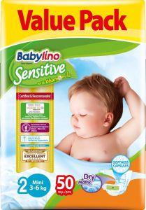 Value Pack Babylino Sensitive Πάνες Νο2 (3-6Kg) 50 τεμάχια
