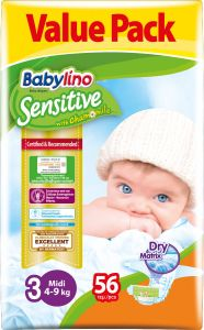 Value Pack Babylino Sensitive Πάνες Νο3 (4-9Kg) 56 τεμάχια
