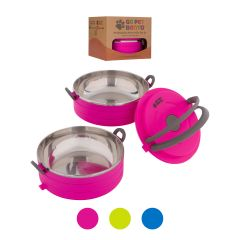 Healthy Human Pet Bento Box Φαγητοδοχείο για Κατοικίδια 16oz Σετ 2 450 ml Ρόζ