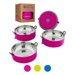 Healthy Human Pet Bento Box Φαγητοδοχείο για Κατοικίδια 16oz Σετ 3 450 ml Ρόζ