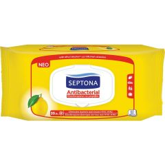 Septona Antibacterial Υγρά Μαντηλάκια με Λεμόνι 60τεμ