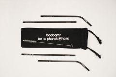 Boobam Straw Μεταλλικά Καλαμάκια 4 τεμάχια-Μαύρο